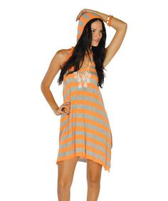 Take a look at this Neon Orange Stripe Hooded Racerback Dress by Lagaci Sport on today! Unique Clothes For Women, Tank Top Dress, Hooded Dress, Sleeveless Hoodie, Affordable Dresses, Orange, Unique Fashion, Hoods, Style Me