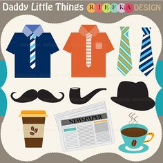 Daddy Little Things Clipart  Digital Clipart  Father Day by riefka, $5.00