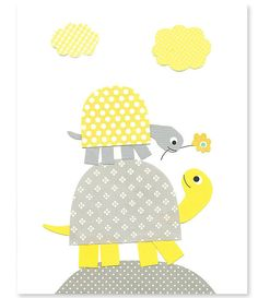 Yellow and Gray Nursery Art Turtle Nursery Print Gender Neutral Girl or Boy's Room Decor Cute Playroom Baby Shower 8 x 10 or 11 x 14 Print on Etsy, $15.00