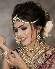 Bride makeup and hair<br> Indian Wedding Bride, Indian Wedding Makeup, Bridal Eye Makeup, Bridal Makeup Looks, Bride Makeup, Indian Makeup, Indian Bridal Photos, Indian Bridal Outfits, Indian Bridal Fashion