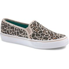 Keds Double Decker Wool Slip-On Sneakers ($55) ❤ liked on Polyvore featuring shoes, sneakers, leopard, keds footwear, pull on shoes, keds sneakers, leopard print shoes and leopard print slip on shoes