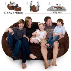 Corda Roy's Double King Size Convertible Foam Bean Bag Bed in Micro Suede | from hayneedle.com