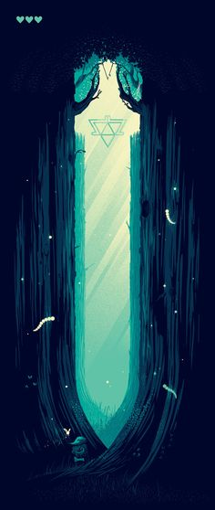 Beautiful! Link and Navi traverse through a forest that also resembles the Master Sword <3