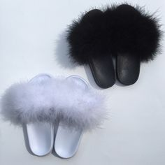 Fur Slippers Feeling Fanci Fur Slides Come In Many Colors and Variations. Celebrity Inspired Fur Slides Seen On Rihanna and Kylie Jenner making these Fuzzy Slides, Cute Slides, Slides With Fur, Look Fashion, Fashion Shoes, House Party Outfit, Girls Tea Party, Slide Sandals, Shoes Sandals