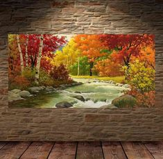 Avikalp Exclusive Flowing River Nature Fall Scenery Full HD Wallpapers for Living room, Hall 3d Wallpaper Painting, 3d Wallpaper Love, 3d Wallpaper Living Room, Painting Abstract, 3d Wallpaper Waterfall, 3 Piece Canvas Art, Different Forms Of Art, Autumn Scenery, Texture Art