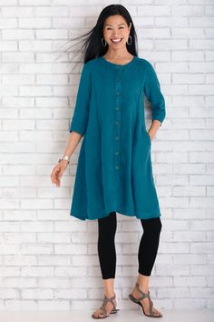 Linen Meadow Dress by Lisa Bayne . An artist's take on the shirtdress, this indispensable gem spans seasons with flair. Princess seams front and back create a most flattering shape.