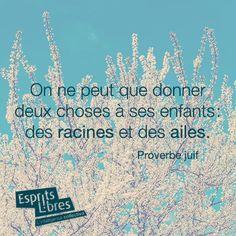 On ne peut que donner deux choses à ses enfants: des racines et des ailes. - Proverbe juif www.espritslibres.ca
