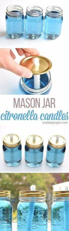 DIY Camping Hacks - Mason Jar Citronella Candles - Easy Tips and Tricks, Recipes for Camping - Gear Ideas, Cheap Camping Supplies, Tutorials for Making Quick Camping Food, Fire Starters, Gear Holders and More http://diyjoy.com/camping-hacks #campingcheap #cheapcampinggearawesome #candlemakingtips