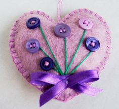 Violet felt heart ornament with button flowers by PrettyFeltThings - Valentine's Day Valentine Crafts, Easter Crafts, Easter Decor, Valentines, Button Flowers, Felt Flowers, Fabric Hearts, Felt Embroidery, Felt Decorations