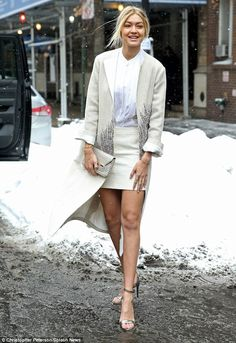 Braving the cold: New York's freezing conditions didn't stop model Gigi from showcasing he...