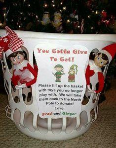 Love this idea! 😃👍🏼❤ Elf on shelf donating toys idea Noel Christmas, Christmas Elf, Winter Christmas, Christmas Eve Box Ideas Kids, Kids Christmas Gifts, Christmas Traditions Kids, Winter Fun, Christmas Activities, Xmas Ideas