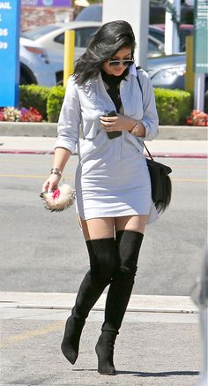 Kylie Jenner in Calabasas. Those boots!
