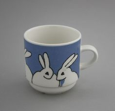 White Hare Mug / From Arabia of Finland by Heljä Liukko-Sundström. Shopping Places, Blue And White China, Old Antiques, Metallica, Cup And Saucer, Finland, Cupboard, Coffee Cups, Rabbit