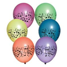 Neon Music Notes Latex Balloons 11 Inch Vibrant Assorted Colors (12)