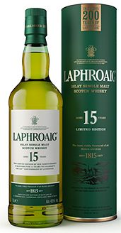 ***new* Laphroaig Single Malt Whisky - 15 Year Old - 200 year edition. Laphroaig replaced the 15y with the 18y a while ago. It has now been recreated in exactly the same way as the original