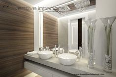 Projekt domu z widokiem Inventive Interiors - pomysł na sufit i oświetlenie lustra - gruby blat w łazience