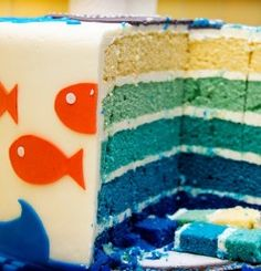 Under the Sea Fish Themed Blue Birthday Cake. I liked this idea. My cake was delicious but too moist for stacking and the fondant sagged. The fruit roll aquatic life was a hit. I learned some things and will do better next time. Great idea.