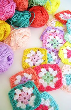 crochet- love these perfectly colorful little granny squares!