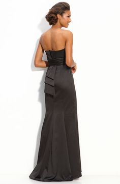 JS Boutique Strapless Stretch Satin Gown with Back Bow... black bridesmaids dress $158