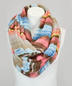 Look what I found on #zulily! Leto Collection Coral Stripe Infinity Scarf by Leto Collection #zulilyfinds