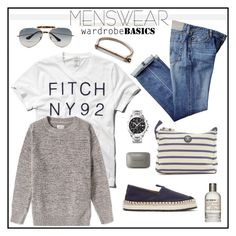 """Wardrobe Basics: Menswear"" by barngirl ❤ liked on Polyvore featuring Abercrombie & Fitch, Tag Heuer, Barbour, Le Labo, Acne Studios, Ray-Ban, MIANSAI, Gant Rugger, mens and men"