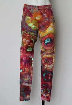 Tie dye Leggings Ice Dyed Size Large - Confetti bullseye by ASPOONFULOFCOLORS on Etsy