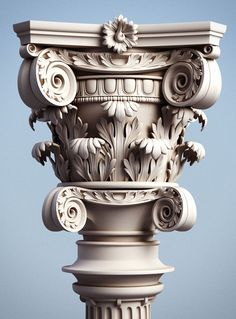 artwork for Overlord The pillar has very detailed capital, the high polygon mesh for this decorative column was modelled in Maya. Neoclassical Architecture, Classic Architecture, Gothic Architecture, Ancient Architecture, 3d Artwork, Artwork Pictures, Artwork Design, Wall Art Designs, Artwork Ideas