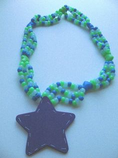 SALE Purple Stitched Star Multi Kandi Necklace by lilblucherrygrl, $5.00