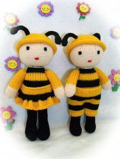 Toy doll knitting pattern.Cuties.Honey bee dolls. PDF by CSKraft