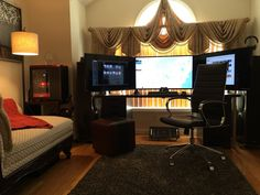 "My triple 4K 40"" battlestation with my old living room speakers. - Imgur"