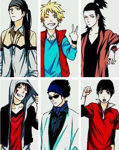 Neji, Naruto, Shikamaru, Kiba, Shino and Lee. Neji and kiba look freakin sexy in this