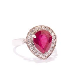 Breathtaking ~Ruby Ring with White Zircon in Sterling Silver 4.73cts