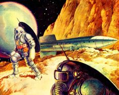 Dark Roasted Blend: Rare & Wonderful 1950s Space Art. Beautiful planetary exploration (or invasion?) scene, painted by Alexander Leydenfrost