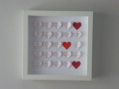 Image of Hearts - Small - Red 'I Love You' I Love You, My Love, Heart Images, Paper Hearts, Anniversary, Frame, Red, Gifts, Handmade