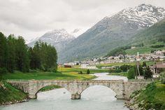 Bridge over the river Inn @ S-chanf, Graubunden, Engadin St Moritz, Switzerland