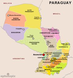 The map of Paraguay and its cities.