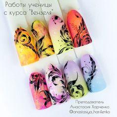 Nail Art Arabesque, Monogram Nails, Nail Art Wheel, Modern Nails, Nail Art Videos, Nail Brushes, Finger Painting, Easy Nail Art, Nail Trends
