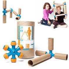 TOOBALINK CONSTRUCTION SET - Our Toobalink Construction Set has endless avenues of creativity for adults and kids.  Toobalink is specifically designed to work with paper towel and toilet paper tubes, so stop tossing those tubes away and start building a rocketship!  Use the connectors, couplers and joiners to design things to work and play with other toys and stuff in your home!