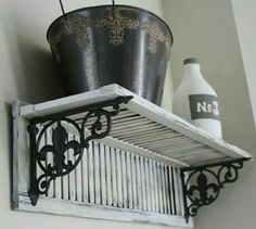Decorative Fleur de Lis Shutter Shelf, Mother's Day or Wedding Gift! Hand made salvaged material Shabby Chic, Rustic, French Country Decor - Love Home Decor Decoration Shabby, Shabby Chic Decor, Rustic Decor, Farmhouse Decor, Shabby Chic Shelves, Rustic Shutters, Diy Shutters, Farmhouse Shutters, Repurposed Shutters