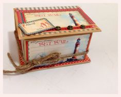 A brilliant altered ATC Book Box using By the Sea from Diane's workshop. Love the touch of twine! #graphic45