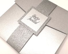 Items similar to Silver Wedding Invitation, Silver and Bling Pocketfold Invitation, Silver Glitter Wedding Invitation on Etsy Wedding Reception Party Favors, Wedding Party Games, Glitter Wedding Invitations, Pocket Wedding Invitations, Wedding Stationary, Pocketfold Invitations, Diy Invitations, Invite, 25th Wedding Anniversary
