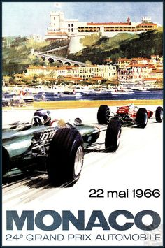 Monaco Gran Prix 1966 Vintage Poster Vintage Art Print Retro Style Vintage Car Auto Racing Advertising Free US Post Low EU post by VintagePosterPrints on Etsy
