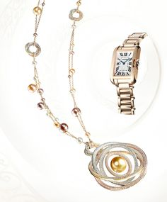 Cartier Trinity Long Necklace - Pink gold, yellow gold and white gold, diamonds, freshwater pearls, gold South Sea pearl.