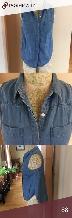 Denim Sleeveless Shirt Denim Sleeveless shirt with hidden buttons. So many ways to wear this shirt! Cotton On Tops Button Down Shirts