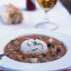 Traditionally gumbo starts with a rouxa mixture of flour and fat thats cooked slowly until browned. In this crawfish gumbo, named for a small town in Louisiana, you brown the flour in the oven. This technique provides a deep, nutty flavor without the fat. Cajun Recipes, Soup Recipes, Healthy Recipes, Gumbo Recipes, Cajun Food, Rajun Cajun, Recipies, Okra Recipes, Haitian Recipes
