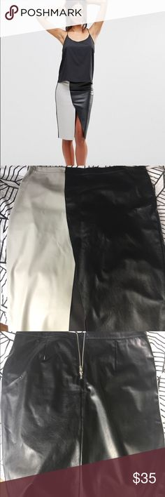 ASOS Vera Moda Two Tone Faux Leather Skirt This sexy skirt is not only beautiful on, but has enough stretch that you will feel comfortable. The picture with the model is from the website and she is wearing an XS. This skirt is an XL but since it's stretchy it could fit a L as well.  Never worn, NWOT. Use the bundle feature for extra discounts! ASOS Skirts Asymmetrical