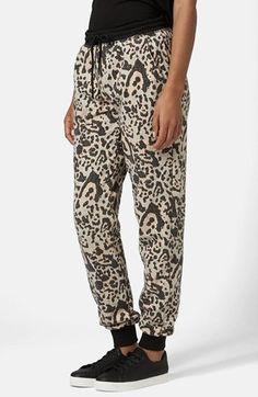 Topshop Leopard Print Brushed Jogger Pants