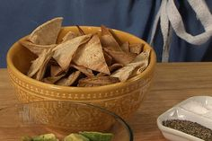 Homemade Tortilla Chips and Guacamole: E. Travis Stork demonstrates how to make homemade tortilla chips and guacamole. Homemade Tortilla Chips, Homemade Chips, Homemade Tortillas, Yummy Healthy Snacks, Healthy Recipes, Diet Recipes, Stork Recipes, Cookbook Recipes, Cooking Recipes