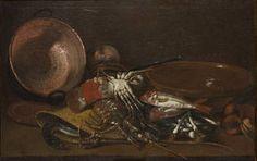 """""""Bodegón de mariscos, peces y recipientes"""", Antonio viladomat, 1710-1740 Madrid, Office Artwork, Museum, Still Life, Art Gallery, Canvas Prints, Bird, Acrylic Paintings, Barcelona"""