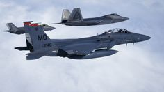 Exercise Atlantic Trident '17. F-15 Eagle which acting as agressor, in formation with F-22 Raptor, and F-35A Lightning II.